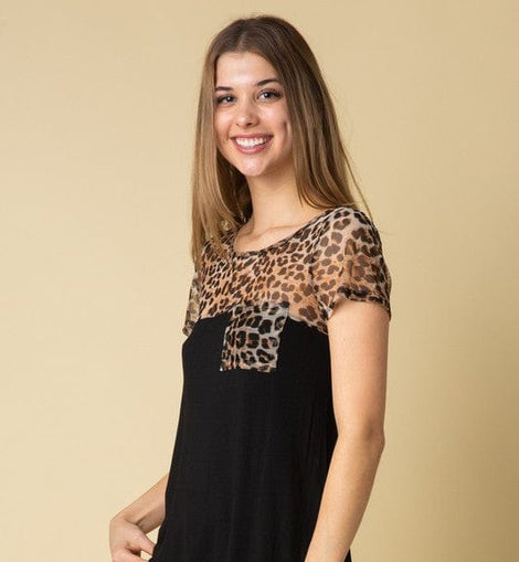 Solid Top w Chiffon Animal Contrast