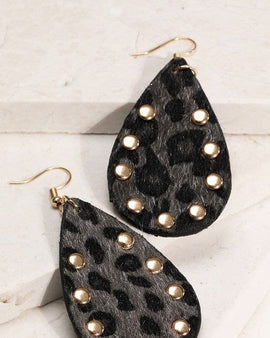 Tear Drop Animal Print Earrings