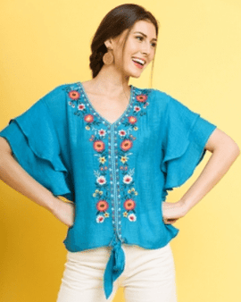 Floral Embroidered Layered Ruffle Short Sleeve V-Neck Top with Waist Tie