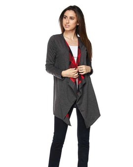 Solid Draped Cardigan with Plaid Print Lining