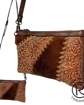 COWHIDE TOOLED DARK BROWN LEATHER BAG