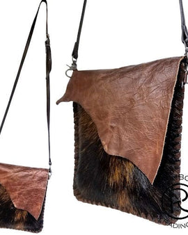 COWHIDE W/ COVER DARK BROWN LEATHER BAG
