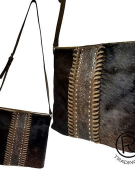 COWHIDE DK BROWN LEATHER MESSENGER BAG