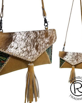 COWHIDE R-BROWN CLUTCH PURSE