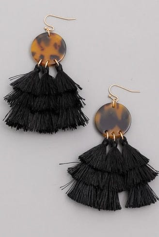 Disc Tassel Layered Fringe Earrings