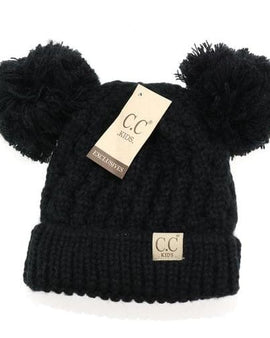Kid solid double pom cc beanie  kid24