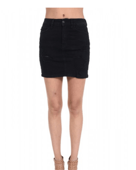 Stretchy Black Destroy Skirt