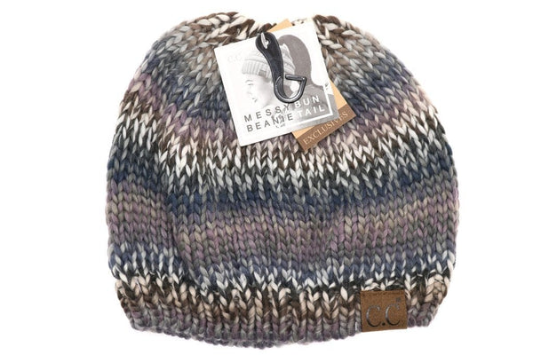 Multi color knit cc beanie  tail MB704