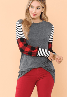 TUNIC TOP WITH COLOR BLOCK SLEEVES