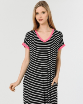 Striped Print V-Neck Cress with Pocket