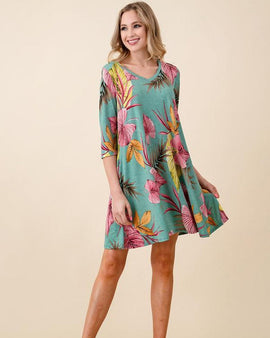 Tropical Print A-line Knit Dress with pockets