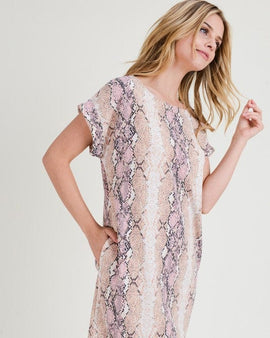 SNAKE PRINT ROUND NECKLINE DRESS SHORT SLEEVES