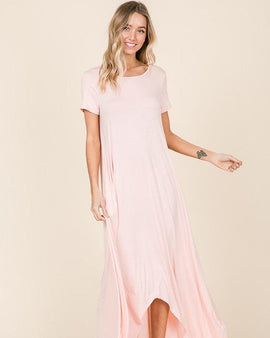 SHORT SLEEVE LOOSE FIT HI-LOW MAXI DRESS