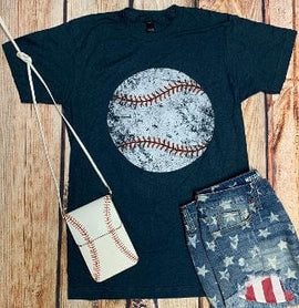 DISTRESSED BASEBALL CREW NECK T-SHIRT