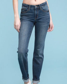 Judy Blue Dark Wash Straight Fit Jeans With Cuff