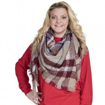 Simply Southern Plaid Blanket Scarf in Camel and Red