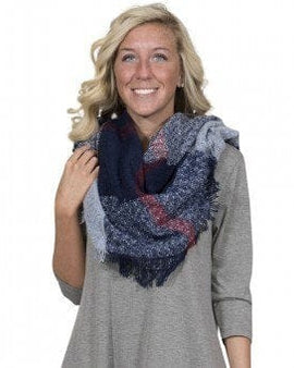 Simply Southern Plaid Blanket Scarf in Navy Blue