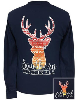 AZTEC DEER NAVY LONG SLEEVE