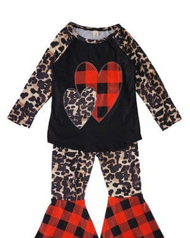 Girl's Leopard and Buffalo Plaid Outfit
