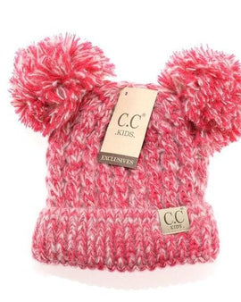 Kids solid double pom cc beanie