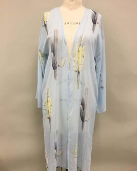 Peach Love Light Blue Cactus Kimono