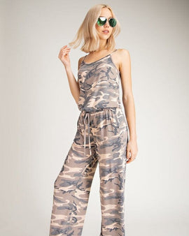 CAMO SLEEVELESS JUMPSUIT WITH ELASTIC WAIST