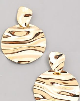 Wrinkled Disc Drop Earrings