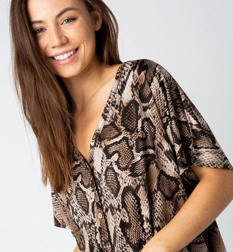 Short Sleeve Multi Snake Print Top with Button Down and Tie Detail