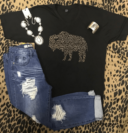 Leopard Buffalo V Neck T-Shirt