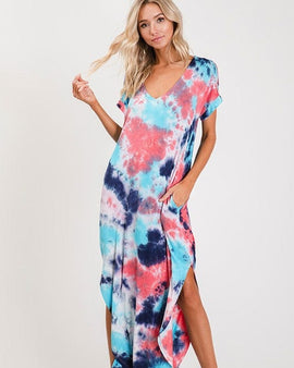 Tie-dye print round bottom cut and side slit maxi dress.