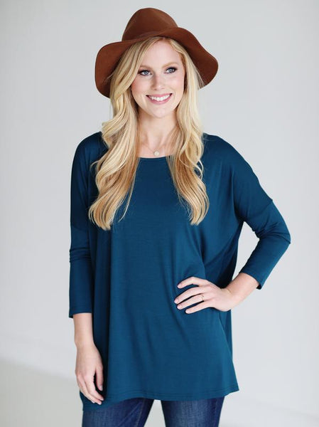 BAMBOO 3/4 SLEEVE TOP Majolica Blue
