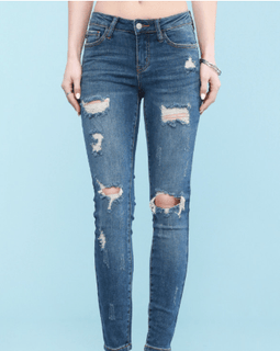 Judy Blue Mid-Rise Destroyed Skinny Jeans