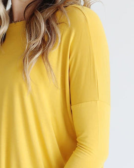 BAMBOO 3/4 SLEEVE TRAPEZE DRESS MUSTARD