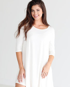 BAMBOO 3/4 SLEEVE TRAPEZE DRESS OFF WHITE