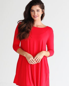 BAMBOO 3/4 SLEEVE TRAPEZE DRESS RED