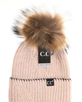 CC Exclusive - Black Label Special Edition Ribbed Cuff Accented CC Beanie ST71