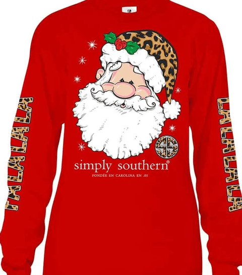 Simply Southern Plus Size Long Sleeve FaLaLaLa T-Shirt for Women in Red