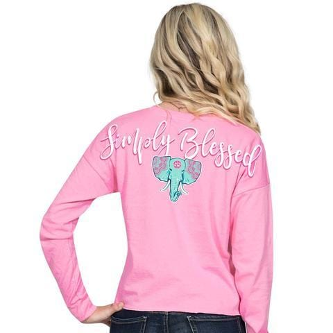 Simply Southern Preppy Blessed Elephant Shortie Long Sleeve