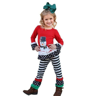 Snow man graphic top with stripe ruffle pants