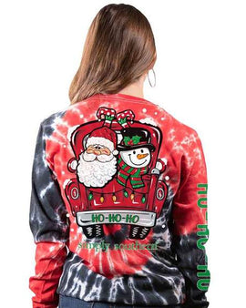 Simply Southern Long Sleeve Santa Truck T-Shirt for Women in Hurricane