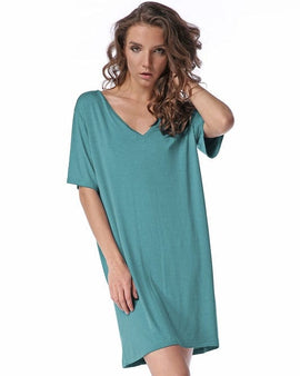 Bamboo spandex V neck short sleeves knitted dress.
