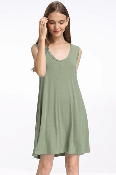 Bamboo spandex knitted tank swing dress with side seam pockets.