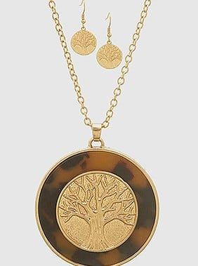 Tortoise Acetate Tree Of Life Orund Pendant Necklace Set