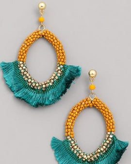 Seed Beaded Hoop Tassel Earrings
