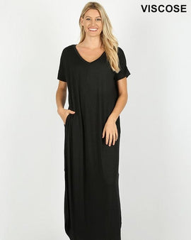 94784003d2c17 VISCOSE SIDE SLIT V-NECK SHORT SLEEVE MAXI DRESS ...