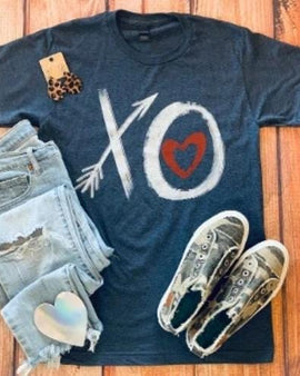 XO HEART HEATHER DENIM CREW NECK