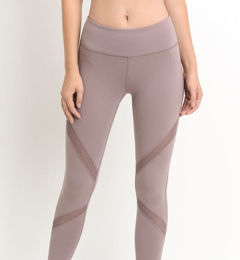 Cross Mesh Panels Pocket Full Leggings (AP1225-Medium-Violet)