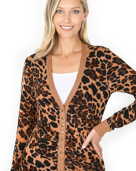 LEOPARD PRINT SNAP BUTTON CARDIGAN SWEATER