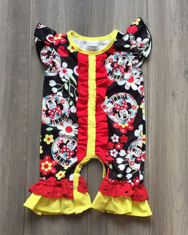 BLACK BABY ROMPER WITH MINNIE PRINT.