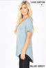 SHORT SLEEVE V-NECK HI-LOW HEM TOP